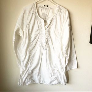 J Crew | White embroidered tunic top